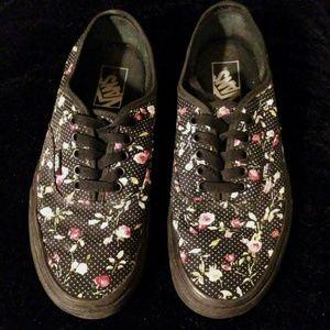Black Floral Vans